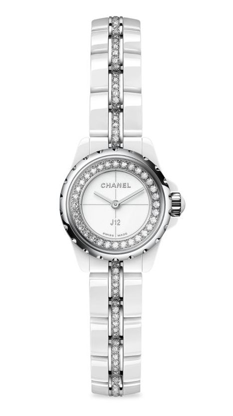 "CHANEL J12 XS Diamond, Ceramic & Stainless Steel Bracelet Watch. From the J12 Collection Quartz movement Water resistant to 500 meters Round white ceramic case, 19mm (0.75"") Scratch-resistant sapphire crystal Stainless steel crown with white spinel cabochon Stainless steel bezel with 32 diamonds, 0.27 tcw White lacquered dial White high-tech ceramic bracelet set with 116 brilliant-cut diamonds, 1.00 tcw Made in Switzerland"