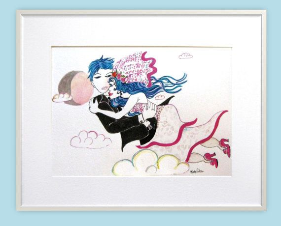 Hand painted print with hand applied gems Bride and by PiskyArt