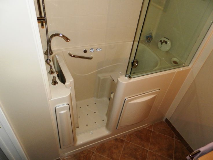 escape plus walk in tub with 3wall composite surround extension and sliding