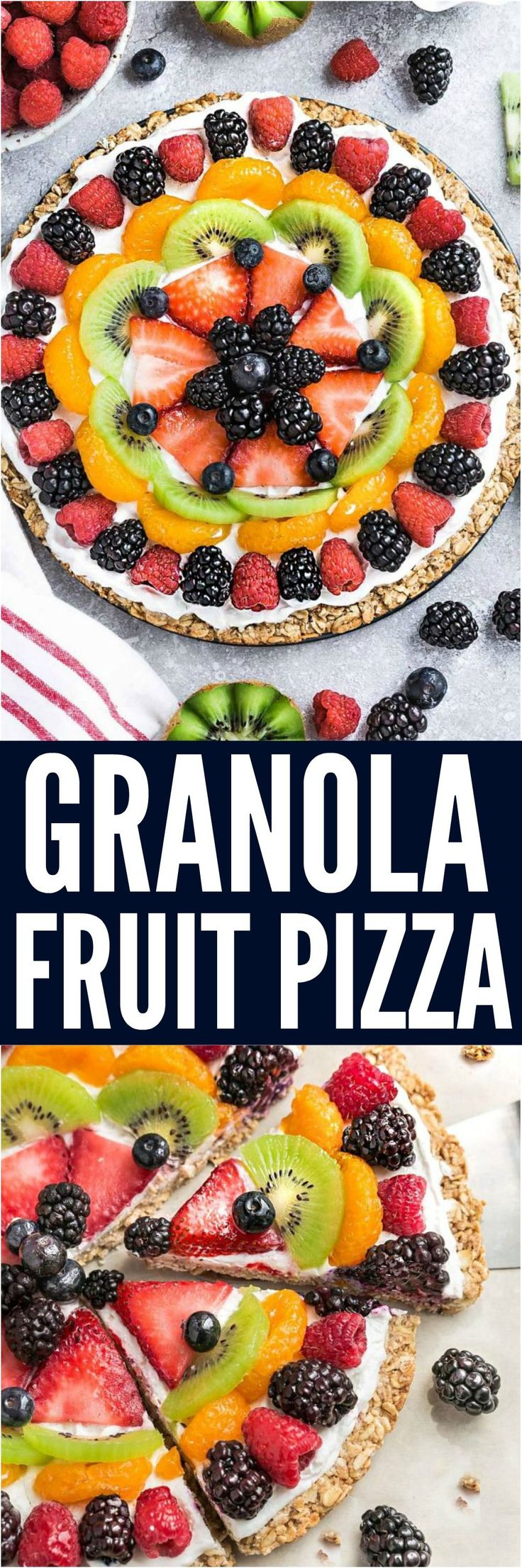 Granola Fruit Pizza - a healthy and delicious breakfast, brunch or dessert and perfect for summer parties. Best of all, it's so simple to make with your favorite fresh fruit and easy granola crust.