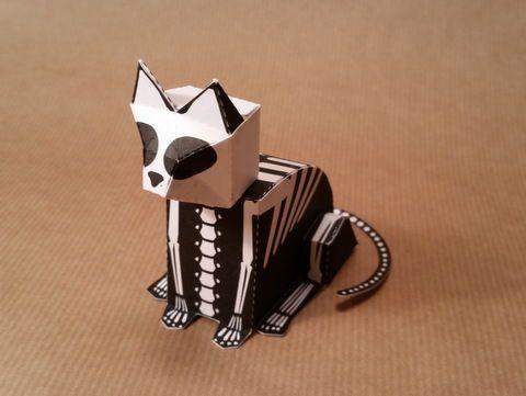 Halloween - Skeleton Cat Free Paper Toy Download - http://www.papercraftsquare.com/halloween-skeleton-cat-free-paper-toy-download.html#Cat, #Halloween, #Skeleton