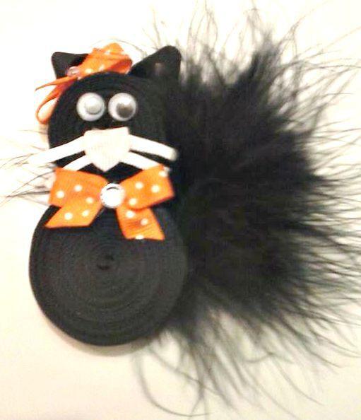 Black Cat Ribbon Sculpture Black Cat Hair Bow by CCSBOWTIQUE2010