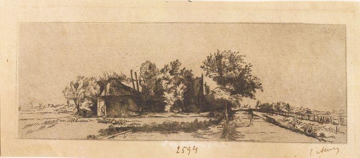 """Peisaj cu fermă și hambar, 1789-1797 (după Rembrandt). Imagine din colecțiile Bibliotecii """"V.A. Urechia"""" Galați."""