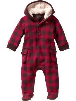 Baby Clothing: Baby Boy Clothing: Cargo plaid hoodie one-piece: Copper Mountain | Gap