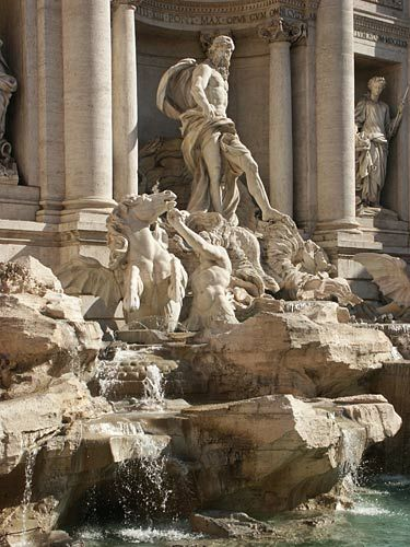 Rome Pictures - The Splendor of Rome, the Eternal City: Trevi Fountain showing Neptune and His Horses
