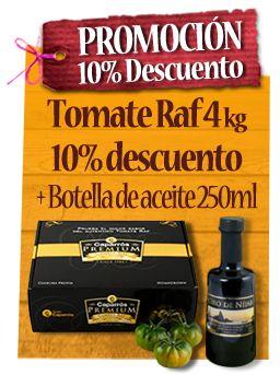 10% descuento en Tomate Raf Caparrós Premium + Botella de aceite 250ml. Oferta válida hasta 31 de enero 2014.
