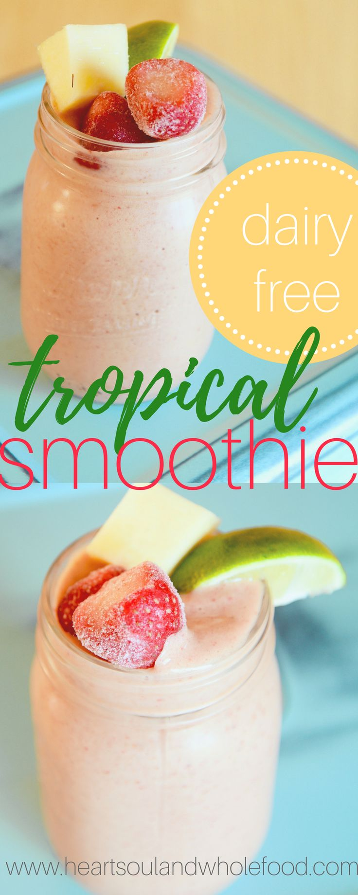Here is an all fruit, dairy free smoothie recipe. A strawberry banana smoothie with some fresh squeezed pineapple juice and a squeeze of lime.