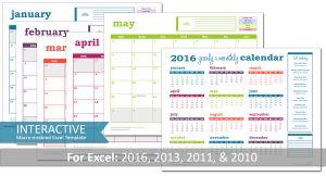 Deluxe Event Calendar 2016 Excel Template - PDF Prints