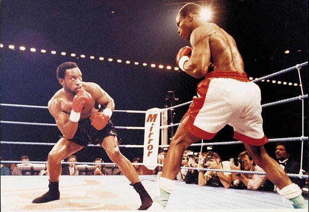 Chris Eubank (right) against Nigel Benn at Birmingham's NEC Arena #sport #boxing