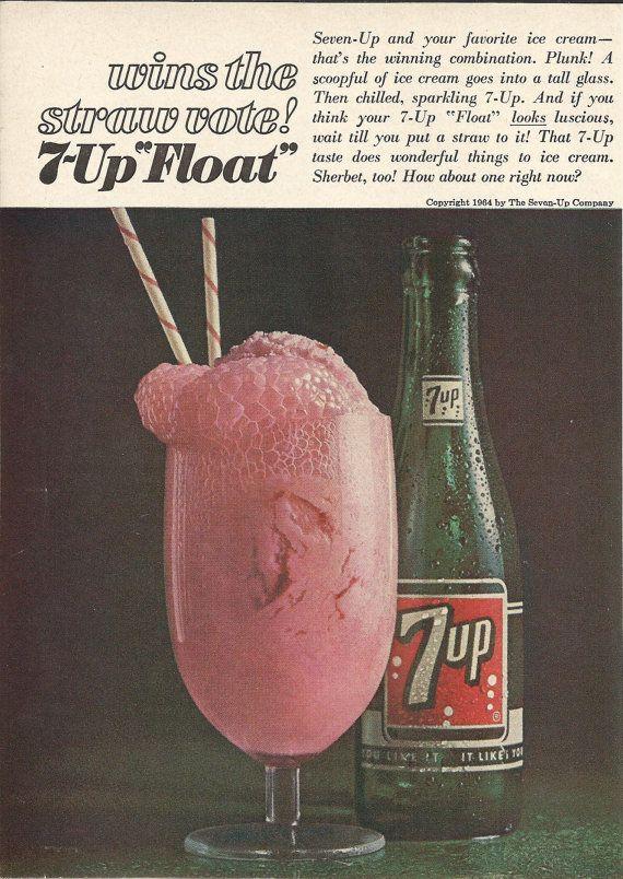 7-UP Float Original 1964 Vintage Print Ad Color Photo Seven Up Ice Cream Sherbet Soda Pop Soft Drink