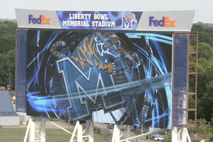 The new $2.5 million JUMBO-TRON video board at Liberty Bowl Memorial Stadium. With unsurpassed resolution and a powerful new sound system, the 106' x 58' structure hulks over the South end of the field. It is the 6th largest video board in collegiate football.