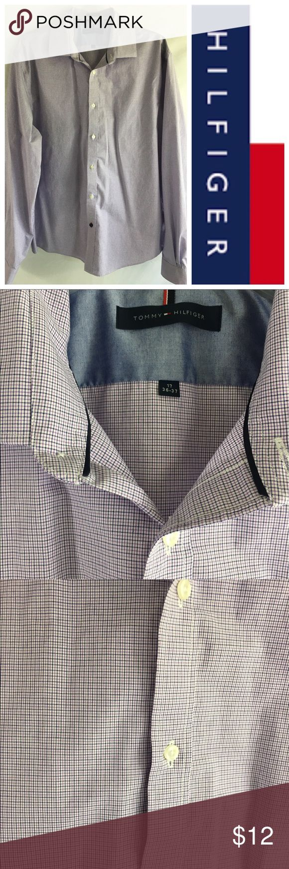 """Tommy Hilfiger Men's No Iron Slim Fit Dress Shirt Tommy Hilfiger Men's No Iron Slim Fit Dress Shirt. Purple and navy on white. Excellent condition - no sign of wear. 100% Cotton. Measurements:  neck 17"""" 36-37. Tommy Hilfiger Shirts Dress Shirts"""