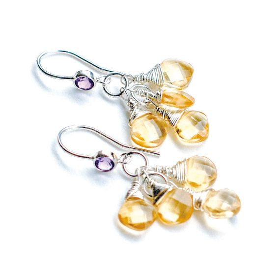 Silver Amethyst Citrine Dangle Earrings #Etsy #JevaJewels #handmadejewelry #swissmade
