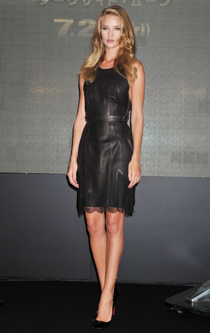 Celebrities In Leather: Rosie Huntington Whiteley in leather dress
