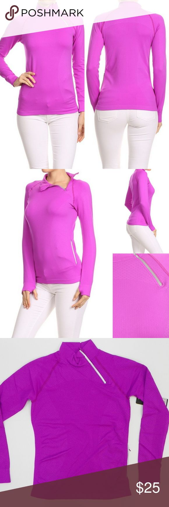 "Fitness 1/4 Zip Running Pullover Jacket Top Purple Ladies Women's Fashion Fitness Workout Activewear 1/4 Zip Mock Neck Running Pullover Jacket  *Side Zipper Pocket *Very Stretchy (adds 3"") *Long Sleeves with Thumb holes  Color:  Purple Material:  95% Nylon 5% Spandex Size : S/M, M/L  Flat Length (shoulder to hem)	S/M - 23""	M/L - 23.5"" Flat Side (armpit to hem)	S/M - 14.5""	M/L - 15.5"" Flat Sleeve (middle of neck to cuff)	S/M - 28.5""	M/L - 29""  Bust 	S/M - 31""	M/L - 32"" Waist at hem	S/M…"