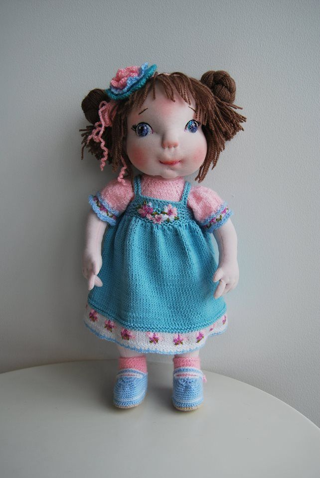 """15"""" OOAK soft sculpted doll with hand knitted  removable wardrobe."""