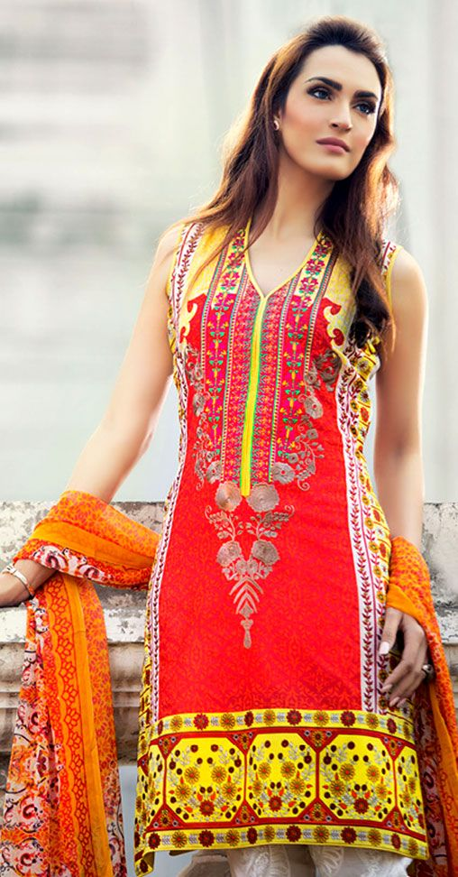 Red/White Embroidered Cotton Lawn Dress - Pakrobe