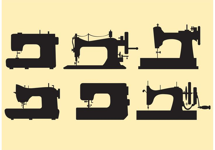 Set Retro Sewing Machine Vectors