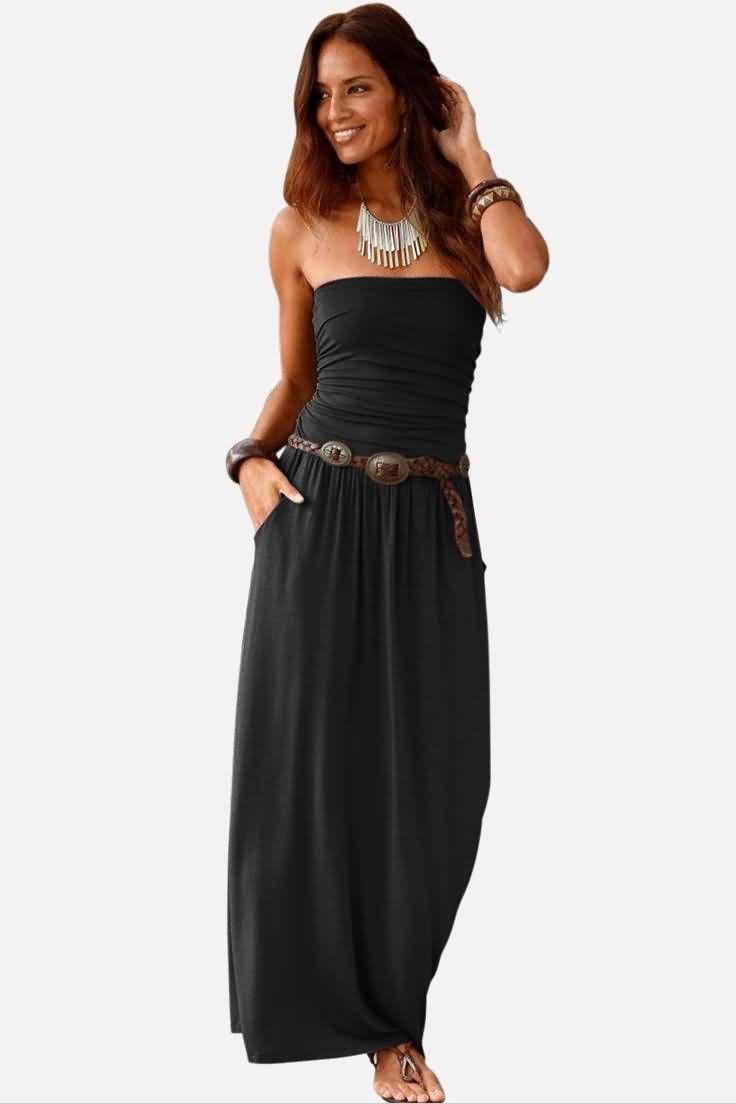 Black Strapless Pleated Pocket Casual Maxi Dress In 2021 Maxi Dress Wholesale Maxi Dresses Empire Waist Maxi Dress [ 1104 x 736 Pixel ]