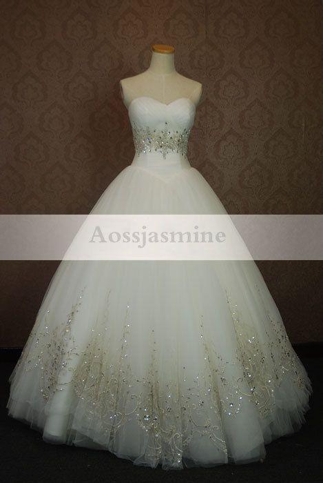 Modern sweetheart ball gown beading tulle wedding dress
