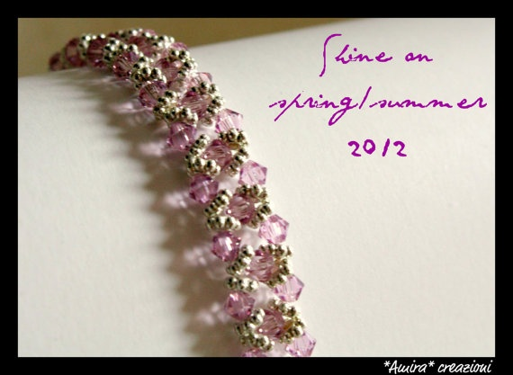 Light Amethyst Swarovski crystal bracelet by AmiraCreazioni
