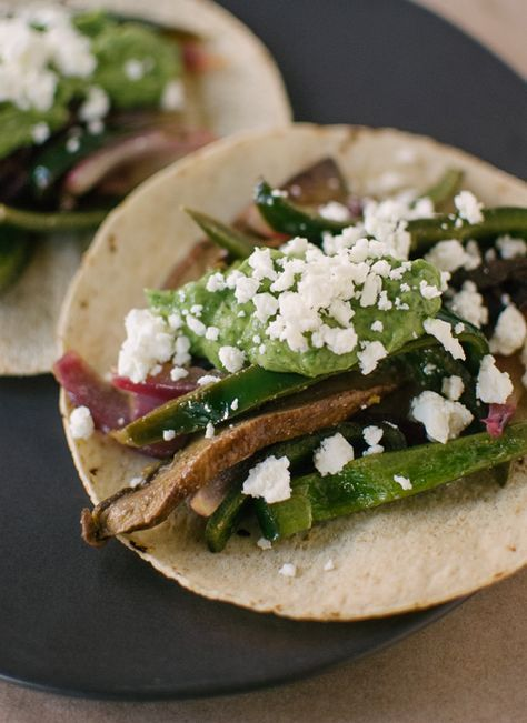 Vegetarian fajitas recipe made with mushrooms instead of steak! These are AMAZING.