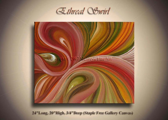 Unique Swirl Modern Red Abstract Painting Texture Ocean wave Palette knife art Stretched Canvas Original artwork by artist Maitreyii. $199.00, via Etsy.
