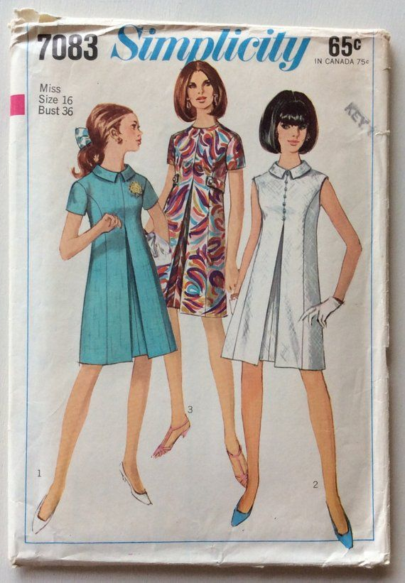 Simplicity 7083 Misses Dress With Inverted Pleat Size 16 Bust Etsy Vintage Dress Patterns 60s Dress Pattern Vintage Sewing Patterns