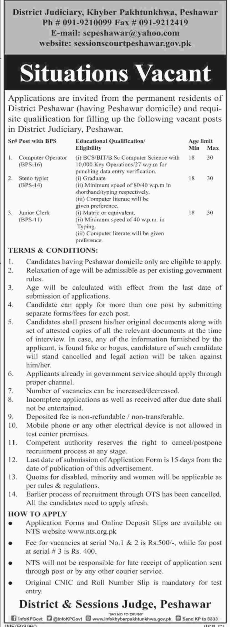 District & Sessions Court Peshawar Jobs