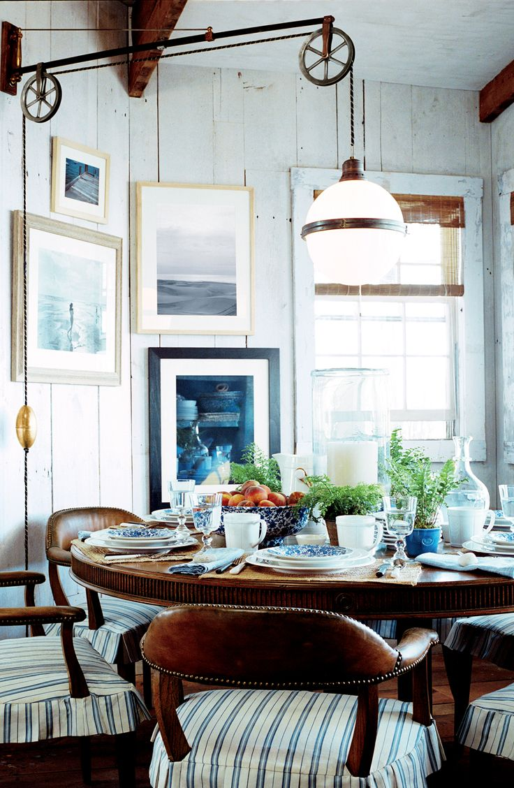 casual beach cottage breakfast with antique globe pendant lighting by