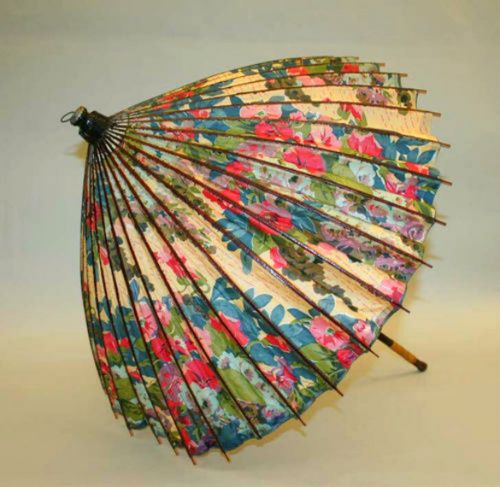 A Japanese style parasol by Paul Poiret, circa 1910                                                                                                                                                                                 More
