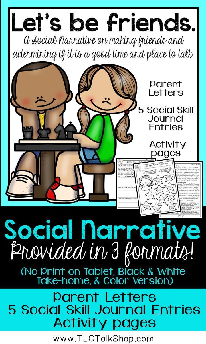 When, Where, and How to start a conversation in the effort to make a new friend can be difficult to determine. This pack includes a social narrative in three formats (including interactive no print), journal pages, parent letters with family homework, and activity pages.