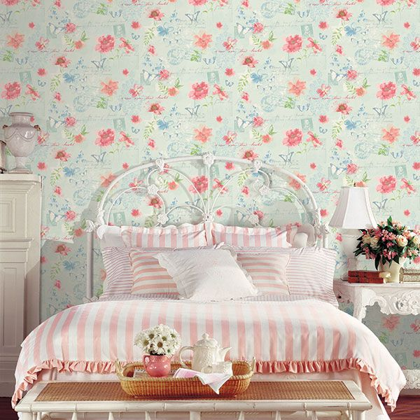 Pink and blue floral wallpaper. Abby Rose 3 Collection by Galerie - AB42433R