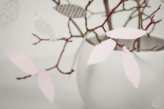 Rami+con+foglie+di+carta - Come+decorare+con+i+rami+secchi+e+le+foglie+di+carta.