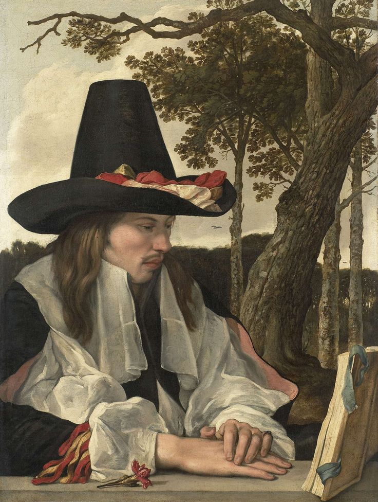 Een lezende man, anoniem, 1660 [Dutch: 'A Man Reading', anonymous, 1660]; the carnation at the front may symbolise a betrothal.