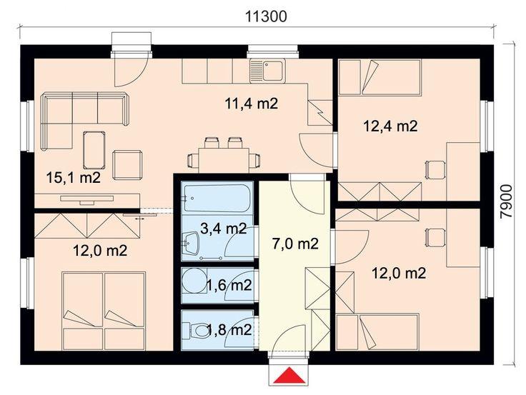 Projekt dřevostavby bungalovu 4+kk s terasou, RD 904 | Typové projekty dřevostaveb | Projekty domů cz