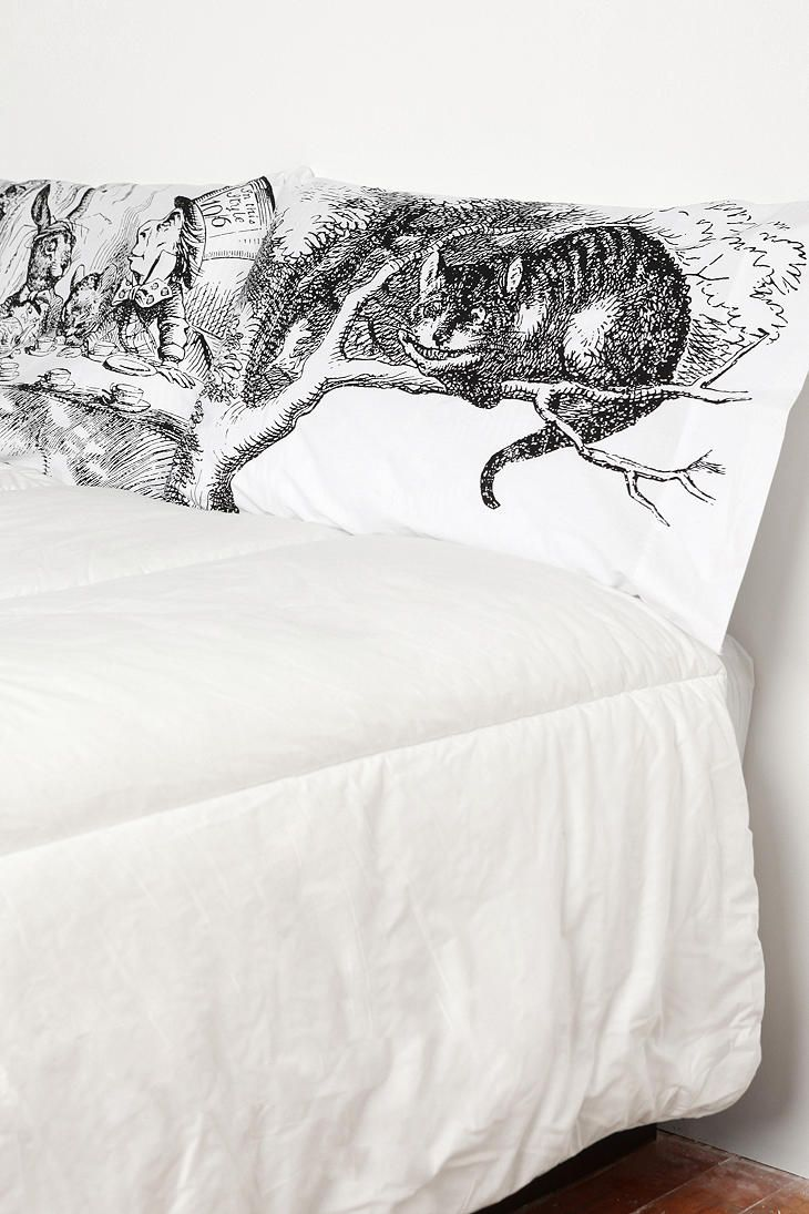 Black and white bedding with red accents - Alice Tea Party Pillowcase Set
