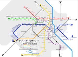 A Handy Printable Map of the Delhi Metro Train Network: Map of Delhi Metro Train Network
