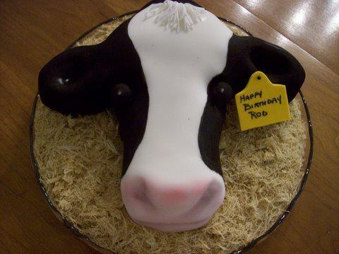 Dairy Cow Sculpted Birthday Cake by KB Kakes