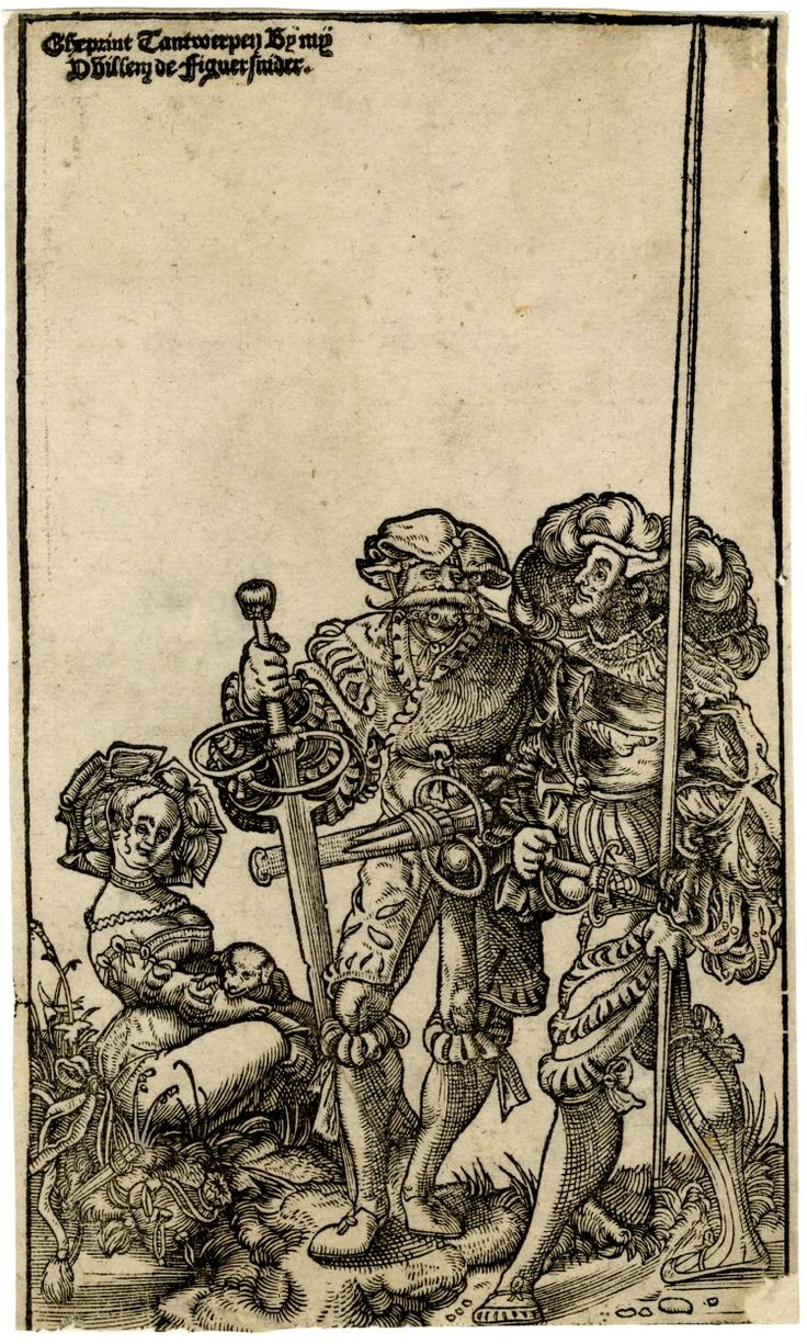 Two mercenaries and a woman; after Urs Graf (Hollstein 28); the female figure seated on the ground at left, turned to right; the soldier at centre holding a large down-turned sword, the one at far right a long lance. Woodcut and letterpress
