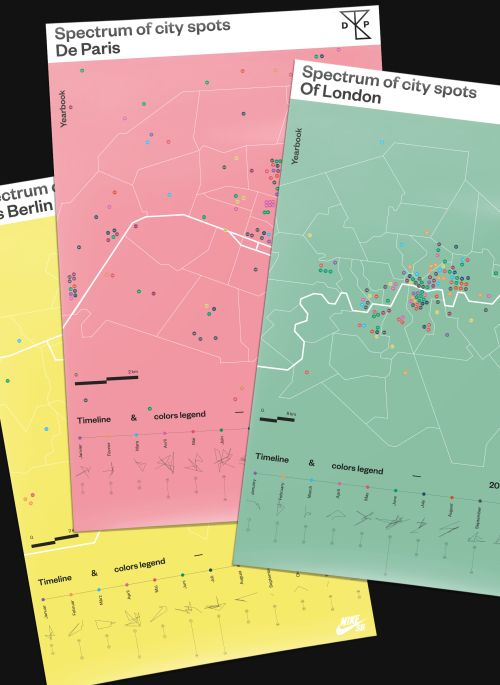 Spectrum of city spots, appears in the three skateboarding yearbooks, De Paris, Of London & Aus Berlin, in collaboration with Nike Skateboarding. Map design and Graphic Design by Studio Jimbo, Paris 2016.