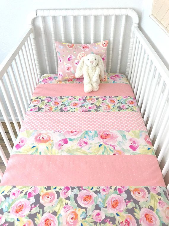 superior Pink Minky Crib Bedding Part - 4: Floral Baby Blanket, Floral Crib Bedding, Blush Pink Nursery Decor,  Watercolors, Blush Pink, White, Mint Green, Gray, Grey, Flowers, Stripe