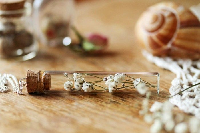 fairy jewelry handmade necklace silver pendant glass bottles Cork dried summer flowers