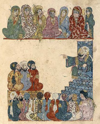 Check out the women's modesty accessories. Maqamat of al-Hariri,1237, Baghdad.