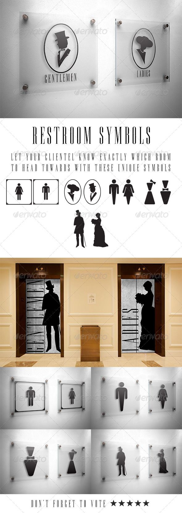 Restroom Vector Symbols  #GraphicRiver         Enjoy informing your clientèle of the direction they should take when heading to the correct restroom.  	 These 5 sets of unique symbols can be lovingly scaled to any size thanks to them being in vector format.  	 Have fun with signage!  	 No font's required.     Created: 23August13 GraphicsFilesIncluded: VectorEPS