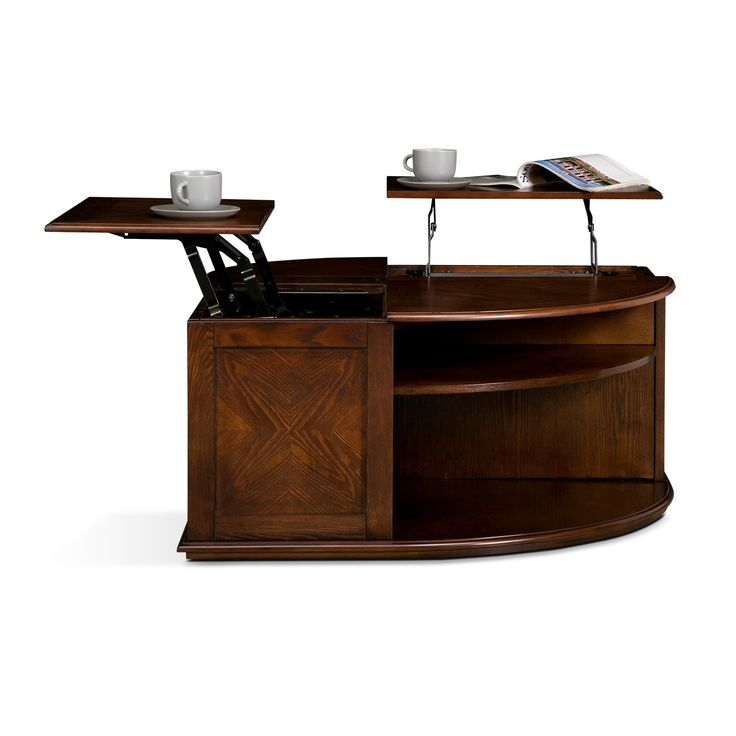Brilliant Curved Side Lift Top Coffee Table With Double Tier Shelves As Modern Custom Handmade Tables