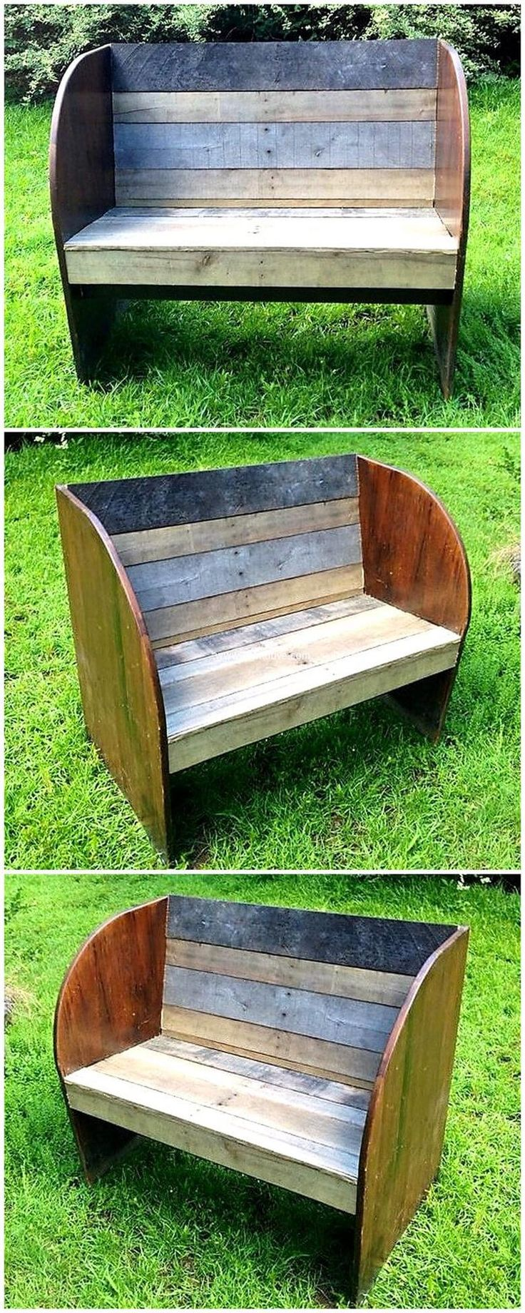 Your garden needs to be furnished in well organized style. Re-purposed wood pallet garden bench is designed in smashing style. Its round style is incredible. Such project offers you to endow your garden in divergent style.  #pallets #woodpallet #palletfurniture #palletproject #palletideas #recycle #recycledpallet #reclaimed #repurposed #reused #restore #upcycle #diy #palletart #pallet #recycling #upcycling #refurnish #recycled #woodwork #woodworking
