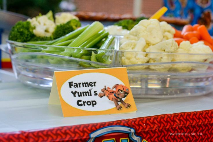 Paw Patrol party food- Farmer Yumi's crop (veggies)