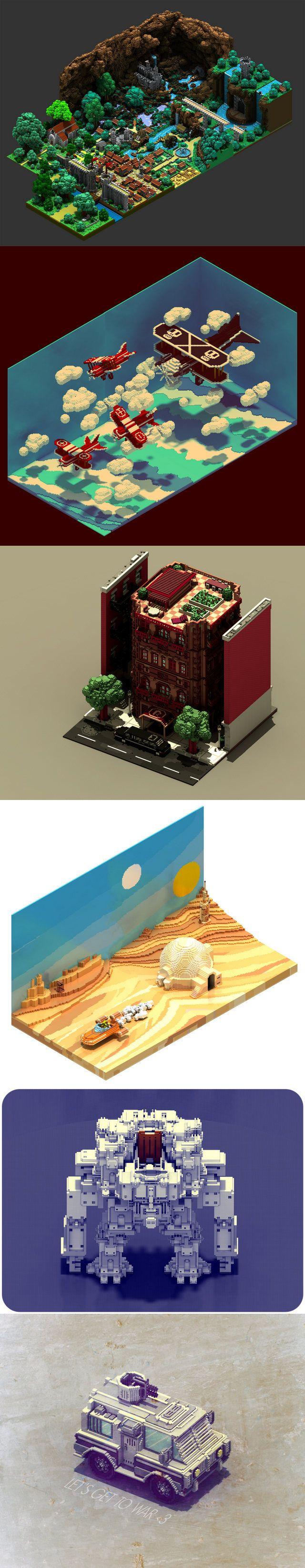 Scènes en voxel art, par Sir carma