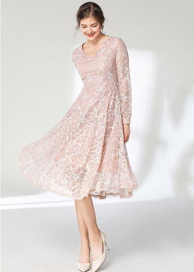 18d9d561b Compre Vestido Midi Renda Manga Longa Festa Rose
